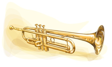 trumpet: Brass Trumpet. Vector illustration.