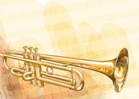 heralds: Brass Trumpet on musical background. Vector illustration. Illustration