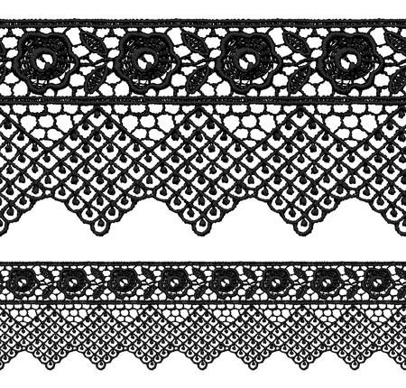 guipure: Black openwork lace seamless border. Realistic vector illustration.