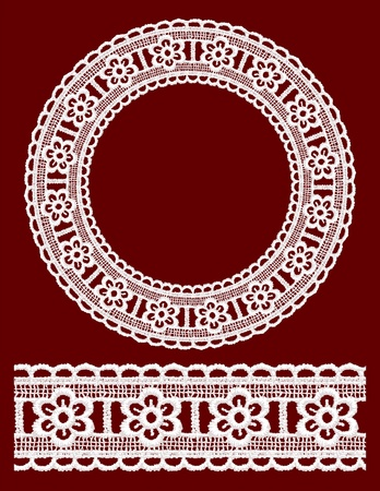 Round openwork lace border. Realistic vector illustration. Vector