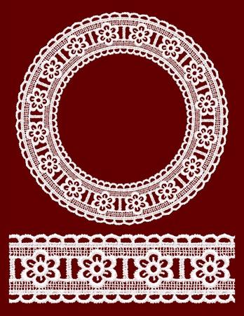 handiwork: Round openwork lace border. Realistic vector illustration.
