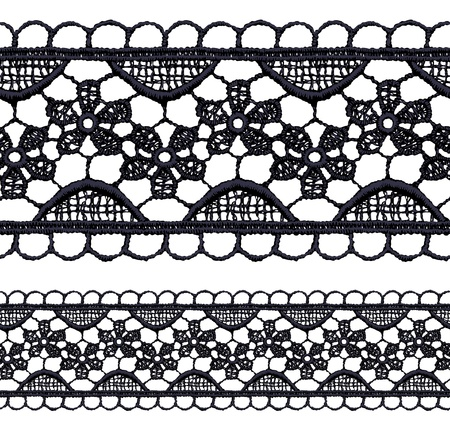 Black openwork lace seamless border. Realistic vector illustration. Vector