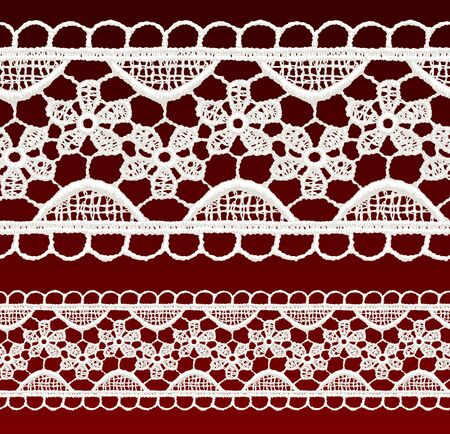 White openwork lace seamless border  Realistic vector illustration  Vector