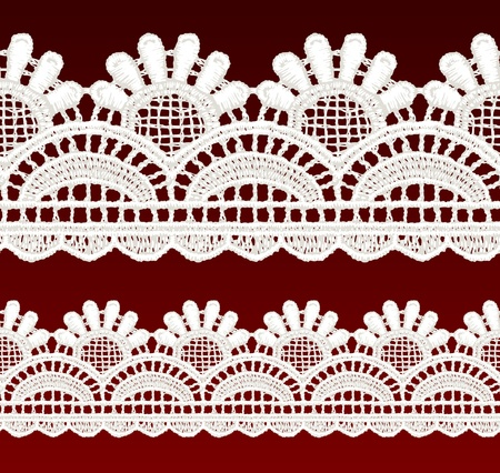 White openwork lace seamless border  Realistic vector illustration