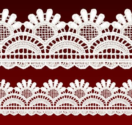 openwork: White openwork lace seamless border  Realistic vector illustration