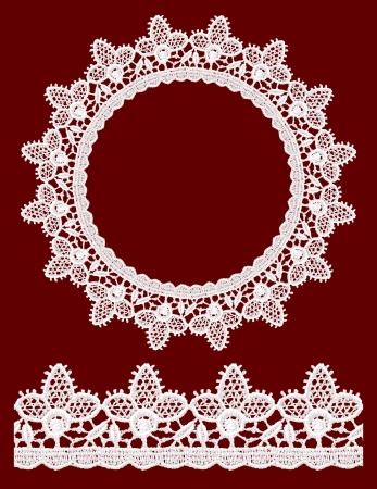 vintage styled design: Round openwork lace border  Realistic vector illustration  Illustration