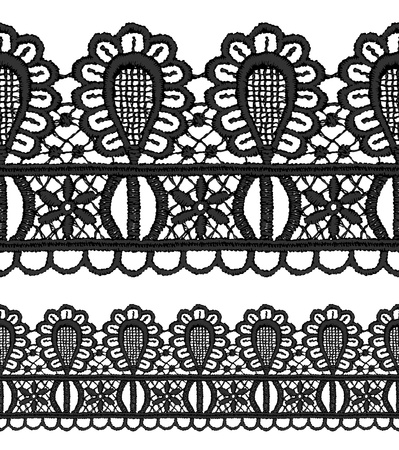 Black openwork lace seamless border  Realistic vector illustration  Vector