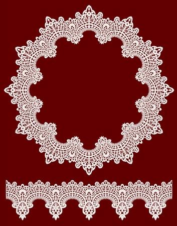 Round openwork lace border  Realistic vector illustration  Illustration