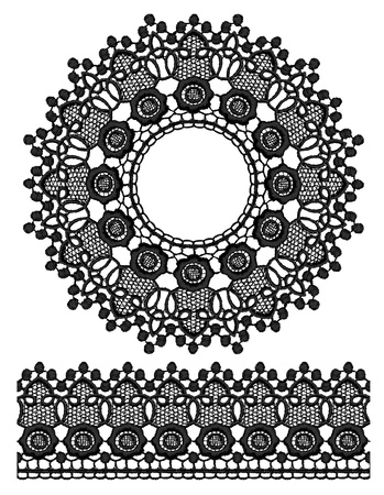 guipure: Round openwork lace border  Realistic vector illustration  Illustration