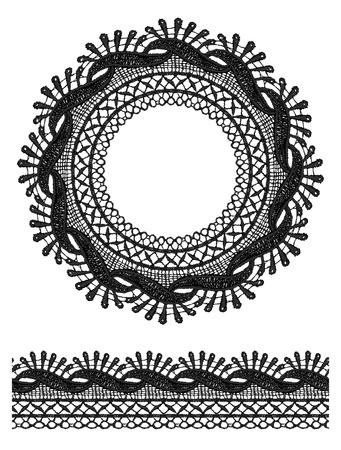 guipure: Round openwork lace border. Realistic vector illustration.
