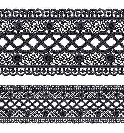 guipure: Seamless penwork lace border. Realistic vector illustration.