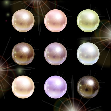 Shinyl pearls on black background  Vector set Stock Vector - 18920107