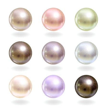 Shinyl pearls  Vector set