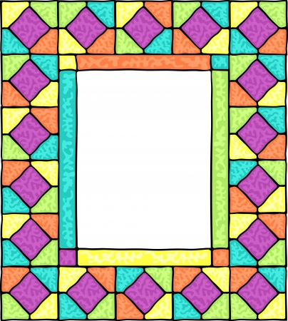 Styled stained glass frame illustration. Vector
