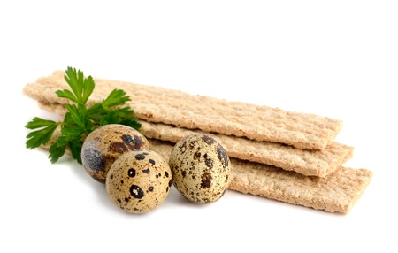 Dietic rye bread and quail eggs. Anti-cholesterol diet. Stock Photo - 19475460