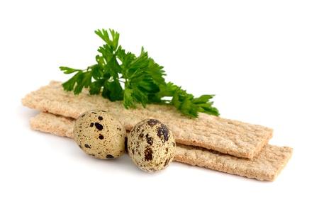 Dietic rye bread and quail eggs. Anti-cholesterol diet. Stock Photo - 19475465