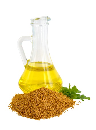 Mustard oil in a glass jug. photo