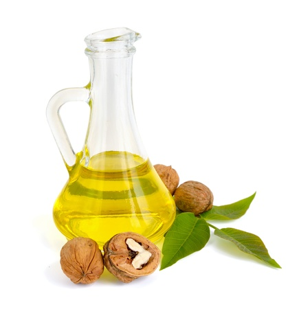 Walnut oil in a glass jug  photo