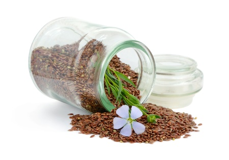 flax seed oil: Flax seeds and flowers. Stock Photo