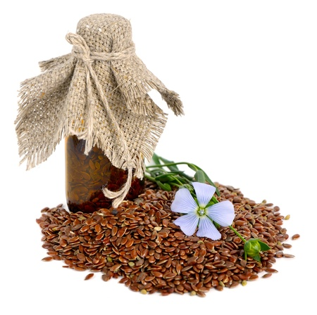 flax: Flax seeds and flowers. Stock Photo