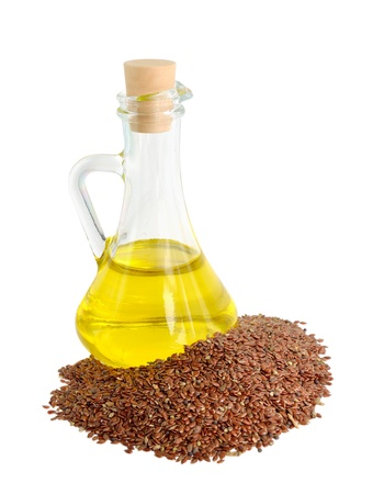flax seed oil: Linseed oil in a glass jug.