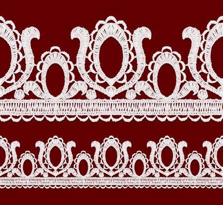 guipure: Seamless openwork lace border Realistic illustration. Illustration