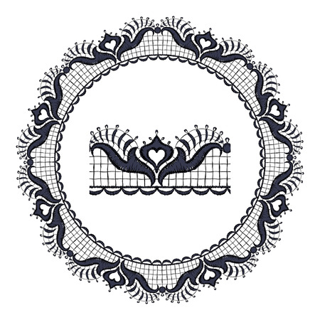 guipure: Round openwork lace border Realistic illustration. Illustration