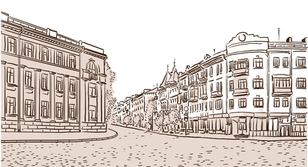 The ancient European street paved by a stone blocks sketch. Vector