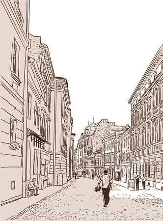 The ancient European foot street paved by a stone blocks sketch. Vector