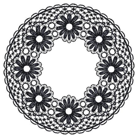 guipure: Round openwork lace border. Realistic illustration.