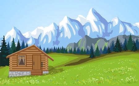 Mountain landscape vith wooden house  illustration  illustration