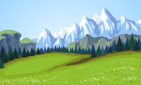 Mountain landscape  illustration  Stock Illustration - 22982989