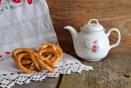 slovenly: Still life with tea and bagels Stock Photo