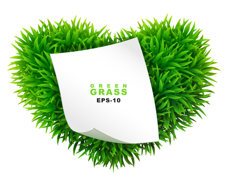 sod: Grassy heart with a clean sheet of paper Illustration