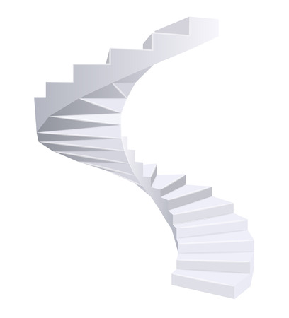 White Spiral staircase. Vector illustration.