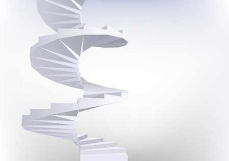 turn screw: Background with White Spiral staircase. Vector illustration. Illustration