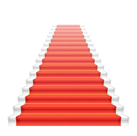 Front staircase and red carpet. Vector illustration. Stock Vector - 25517779
