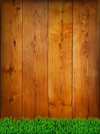шпон: Фон из дубовых досок с зеленой травой. Векторная иллюстрация. Иллюстрация