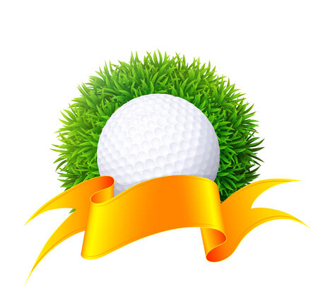 Ball for golf on green grass with gold ribbon. Isolated on white background. Vector illustration. Vector
