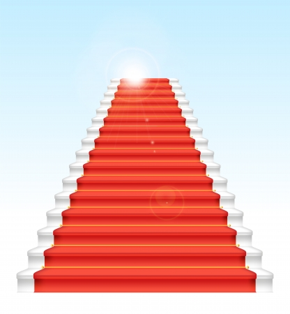 Front staircase and red carpet. On blue sky background. Vector illustration. Stock Vector - 25517805