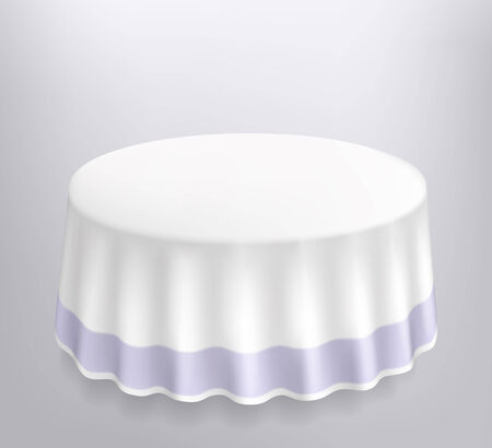 surface covering: Round table with a white cloth. Vector illustration.