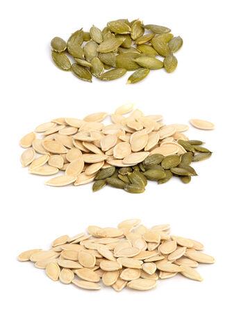 Pumpkin seeds ochishchknny and crude. Isolated set. photo