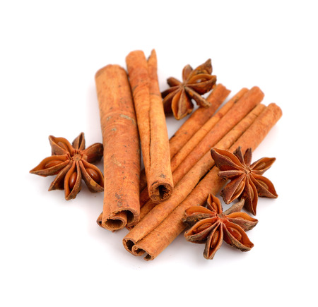 anisetree: Anise and cinnamon isolated on white background.