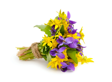 Small bouquet with meadow flowers. Isolated on white background. photo