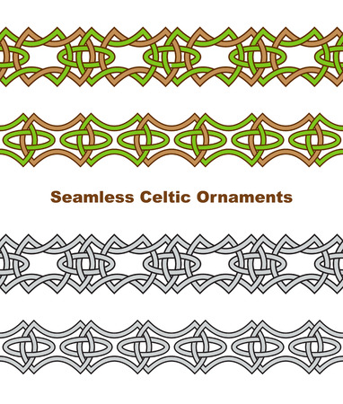 irish christmas: Seamless celtic borders. Vector illustration.