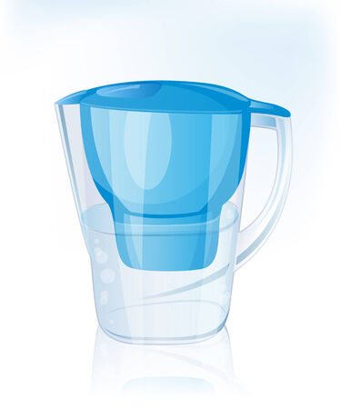 reflection in water: Jug filter for water. Vector Illustration.