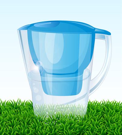 water jug: Jug filter for water on green grass. Vector illustrartion.