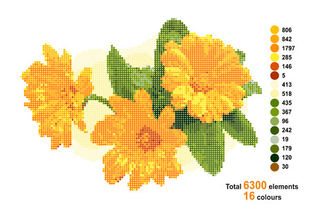 calendula: Bouquet with calendula. The scheme for beadwork or cotton threads. Vector illustration. Illustration