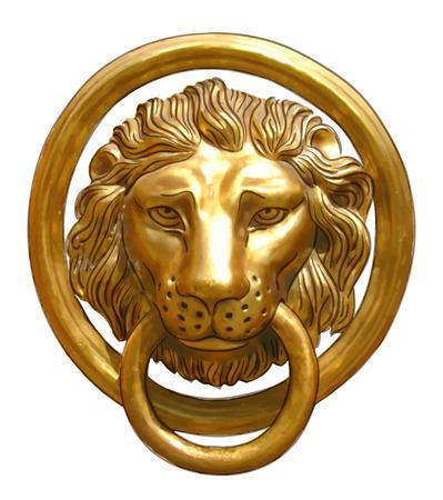 knocker: The door handle - the head of a lion. Vector illustration.