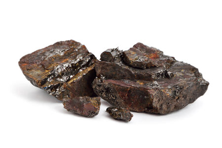 calorific: Fossil coal isolated on white background Stock Photo